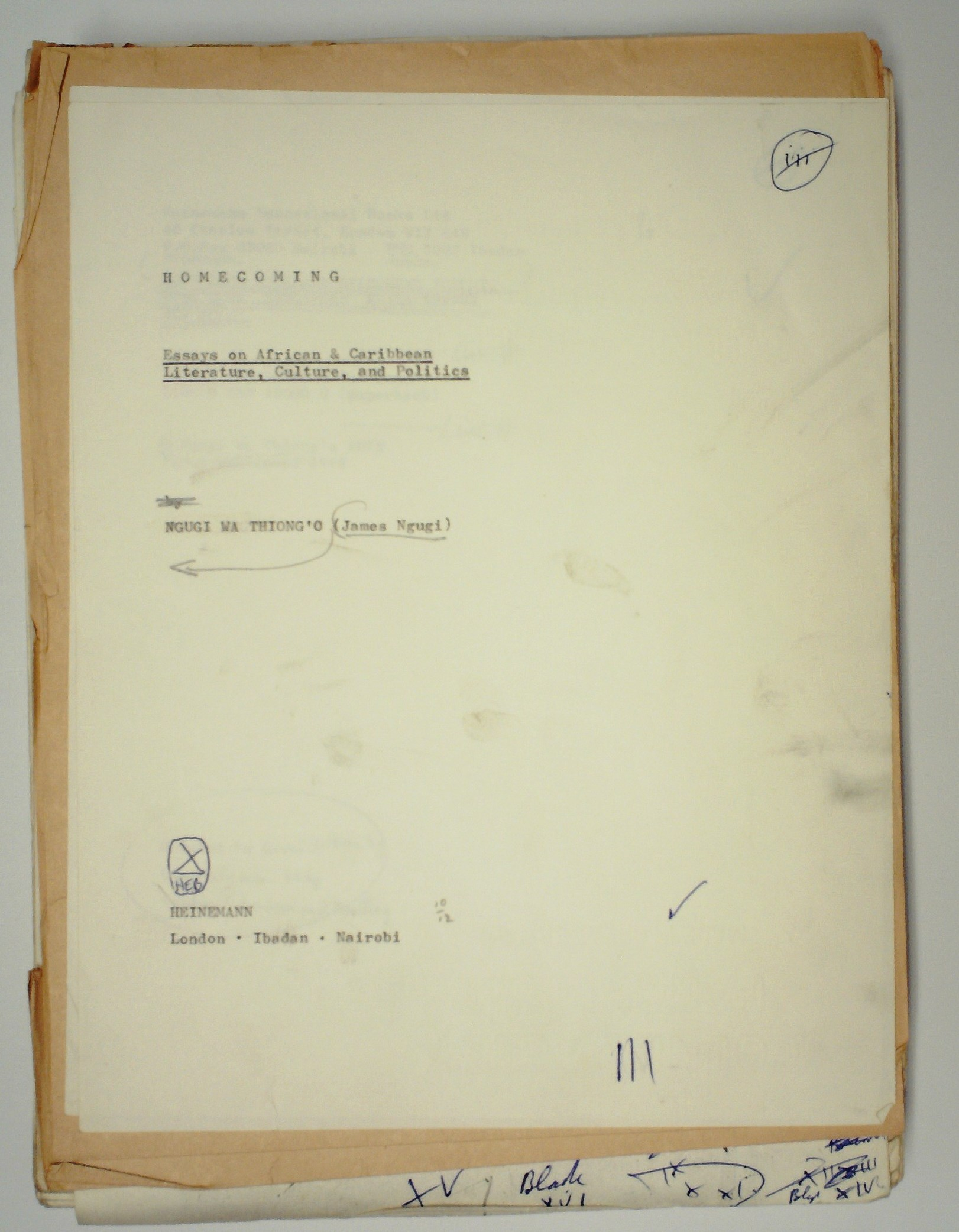 african peoples soas archives title page annotated typescript of homecoming essays on african and caribbean literature culture and politics by ng361g297 wa thiong o ms 337274