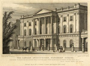 Print of the London Institution Building, Finsbury Circus. 1827. Ref: SOAS Picture Archive. SOAS Buldings, Box 1, item 1. © SOAS.