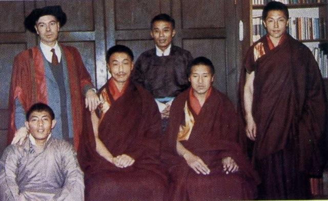 From left to right: David Snellgrove, Sangye Tenzin, Pasang Khambache, Tenzin Namdak, Samten Karmay and front left Tashi Lhagpa, at David Snellgrove's home in 1963.