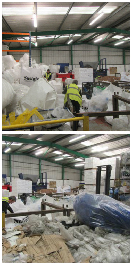 These photos show the outer packaging of furniture which customers have sent back to the factory. This is then sorted and reused or recycled.