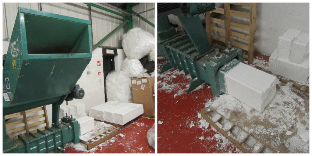 The polystyrene is recycled in this machine. Once it has been recycled, it is compressed into large blocks which can be reused or sold to other companies.