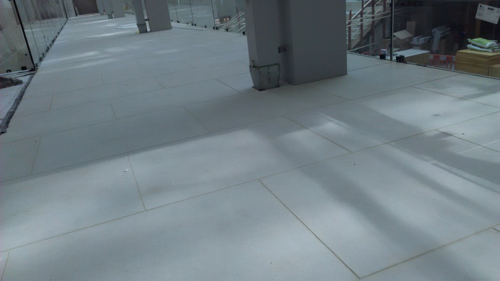 The balcony flooring in place.