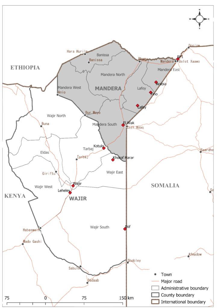Map of Mandera County. Source: Danish Demining Group/Danish Refugee Council, Kenya